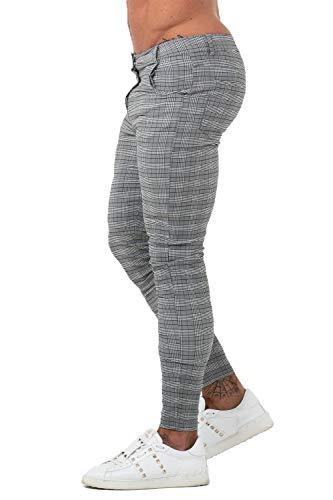 GINGTTO Mens Chinos Pants Skinny Fit Dress Pants Grey Plaid Twill Pants for Men 30