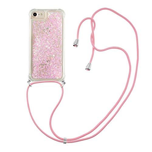 """Nadoli Handykette Hülle für iPhone 6S/6 4.7"""",Durchsichtig Glitzer Treibsand Flüssigkeit Silikon Handykordel Necklace Schutzhülle Handyhülle mit Umhängeband"""