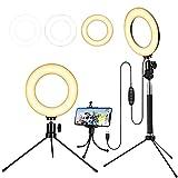 Luz de Anillo de 6'con trípode para Selfie/Makeup Live Stream y Video de Youtube Luz LED de cámara con 3 Modos de luz y 11 Niveles de Brillo y con Soporte para teléfono móvil (Black)