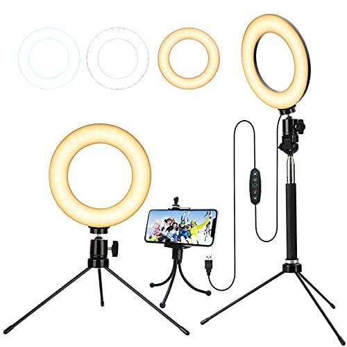 Ringlicht mit Stativ,Blitzgerã¤te für Selfie/Makeup Live Stream und YouTube Video Dimmbare LED-Kamera mit 3 Lichtmodi und 11 Helligkeitsstufe und mit Handyhalter 6