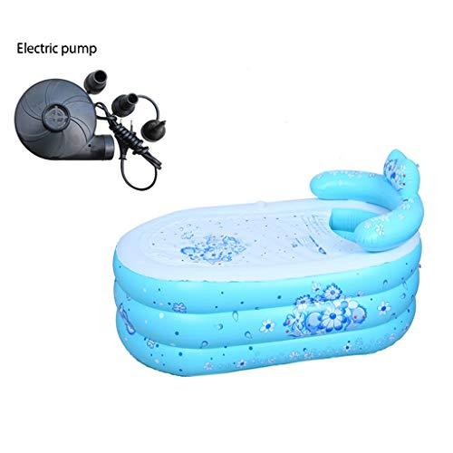 ZHJ Aufblasbare Badewanne Badewanne Erwachsene Haushalt Folding Badewanne Bad Barrel Dicke Plastik-Badebottich-Badebottich Whirlpools (Color : Blue-B, Size : 130 * 75)