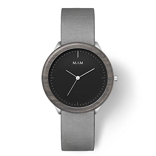 MAM Originals Herren Uhr Analog Japanisches Quarzwerk mit Leder Armband Stainless Dark Maple Graphite