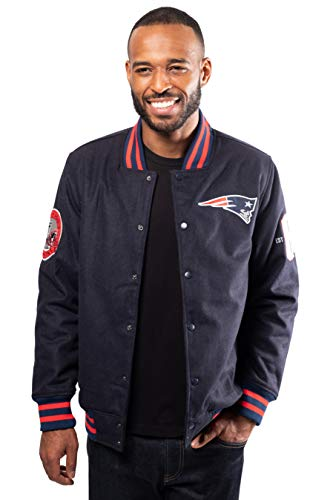 Ultra Game NFL New England Patriots Mens Classic Varsity Coaches Jacket, Team Color, Large