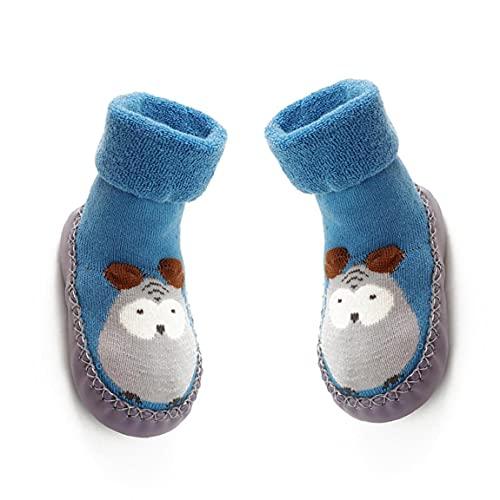 MICHAELA BLAKE 11 cm de bebé Antideslizantes Calcetines Zapatos Botas Transpirable de algodón de Dibujos Animados del Deslizador de los Calcetines para los niños, niños, recién Nacidos-Blue