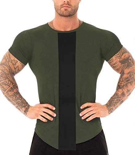 URRU Mens Ergonomic 4 Needle Flat-Lock Seams Shirt for Cycling Hiking Army Green L