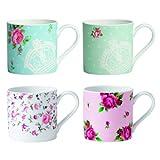 Royal Albert New Country Roses Tea Party Modern Mugs Set of 4, Multicolored Print