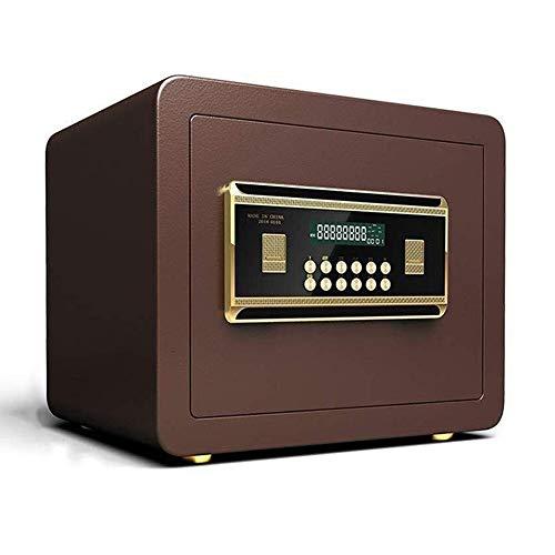 Elektronische Kluis Beveiliging Box, Small Wall-Verankering Veilig, Veiligheid Stalen kluis, for Home & Office, Cabinet Safe met toetsenbord for het geld, sieraden, Cash (35x25x25cm) (Color : Brown)