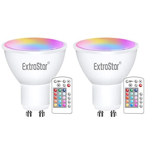 Ampoules Led Gu10 Couleur 5w équivalent 40w, Extrastar Ampoules Blanc Froid 6500k RGB Dimmable Télécommande Lampes, Lot de 2.