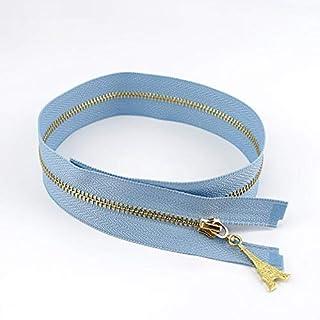 EDCA 10/30pcs 3# Metal Zipper Open End 40/50/60/70cm DIY Puller Zip for Sewing Bags Purse Down Jacket Skirt Clothing Accessory (Color : Light blue, Size : 10pcs)