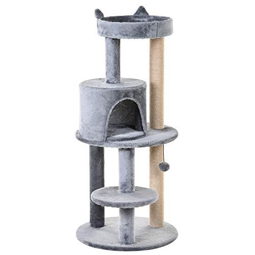Pawhut Albero Tiragraffi per 1-2 Gatti di 4.5kg con 3 Livelli, Cuccia, Lettino e Palo in Corda Sisal, Grigio 48x48x104cm