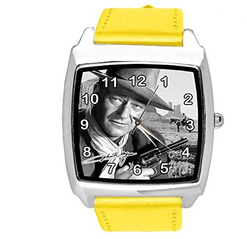 Reloj cuadrado de cuero amarillo para fans de John Wayne