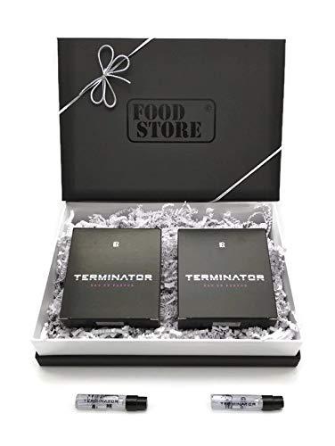 2x LR Terminator Eau de Parfum 50ml + 2 Mini Vapos mit hochwertiger Foodstore Geschenkverpackung