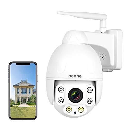 SENHE 5MP PTZ Überwachungskamera Aussen WLAN mit Mensch Bewegungsmelder, IP Kamera Outdoor mit 5X Optischer Zoom, 60m Nachtsicht, 2-Wege-Audio, IP66 Wasserfest, Unterstützung von 128GB SD Karten