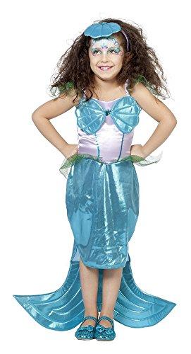 Meerjungfrau Nixe Kostüm + Diadem Kinder Gr. 104 116 128 140 (116)