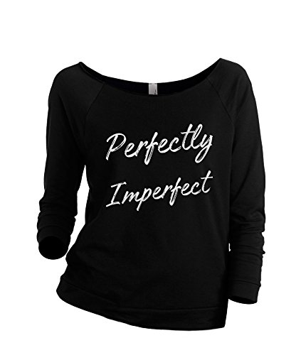 Thread Tank Perfectly Imperfect Women's Slouchy 3/4 Sleeves Raglan Sweatshirt Black Small