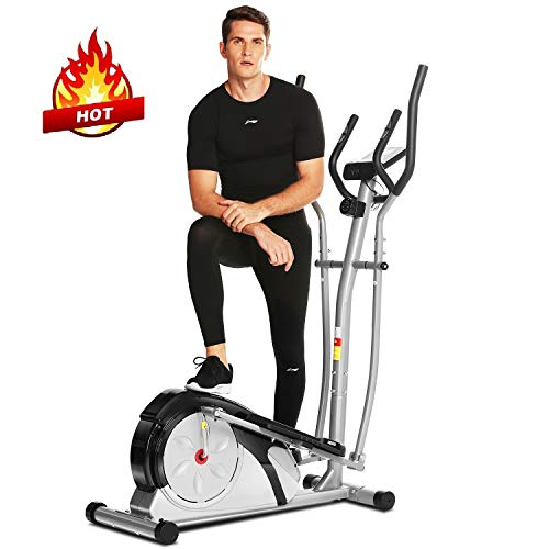 FUNMILY Elliptical Machine, Elliptical Trainer Machine for Home Use Magnetic Smooth Quiet Driven with LCD Monitor and Pulse Rate Grips