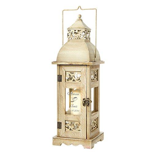 Casa Vivente Holz-Laterne mit Gravur – Motiv Ringe – Personalisiert mit Namen und Datum – Windlicht für Haus und Garten – Deko – Hochzeitsgeschenk für Brautpaar – Geschenkidee zur Hochzeit