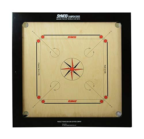 Synco Carrom Board Speedo Board Game Board Champion Bulldog Jumbo English Ply Wood Board with Coin, Striker & Powder, AICF...