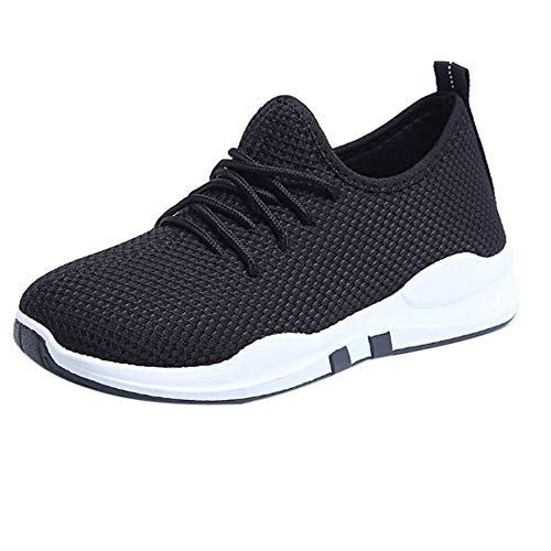 MRULIC Damen Laufschuhe Schnüren Sich Oben Flach Bequeme Fitness Gym Sport Schuhe Freizeitschuhe Sportschuhe Running Sneaker Netz(Schwarz,38 EU)