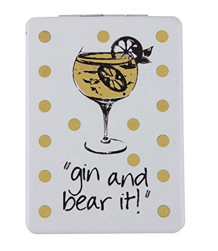 """Quirky 'Gin & Bear IT """"Miroir compact de voyage Vacances Cadeau pour Femme à charnière"""