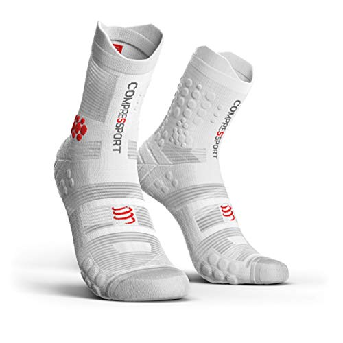 COMPRESSPORT Pro Racing Socks v3.0 Trail Calcetines para Correr, Unisex-Adult, Blanco, T3