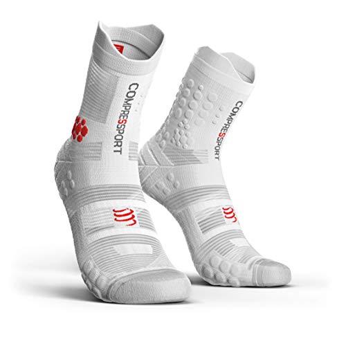 COMPRESSPORT Pro Racing Socks v3.0 Trail Calcetines para Correr, Unisex-Adult, Blanco, T2