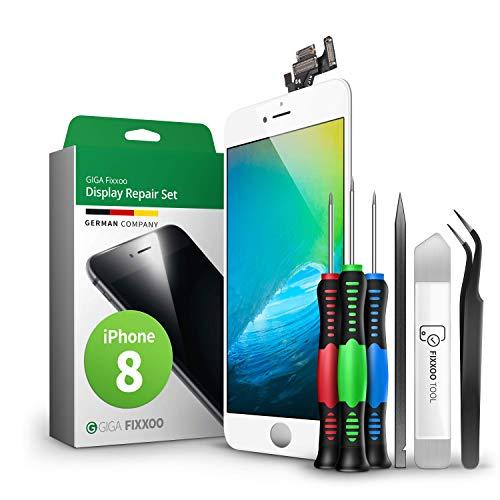 GIGA Fixxoo Kit Completo de Reemplazo de Pantalla iPhone 8 LCD Blanco; con Touchscreen, Cristal Retina Display, cámara y Sensor de proximidad - Fácil instalación y reparación guiada DIY