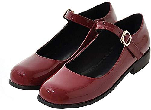 Mary Jane Pumps Flach mit Riemchen Lack Damen Schuhe(WeinRot,35)