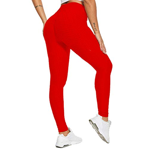 SotRong Damen Gym Leggings Hohe Taille Yogahose Booty Scrunch Bauch Kontrolle Workout Kompression Sport Trainingshose Rot S