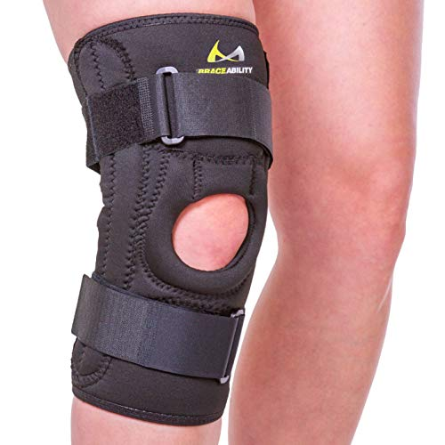 BraceAbility Patella Stabilizing Chondromalacia Knee Brace - Patellofemoral Pain Syndrome U-Shaped Stabilizer Supports Sides of Kneecap for Patellar Floating, Knock Knee and Bow Leg Correction (L)