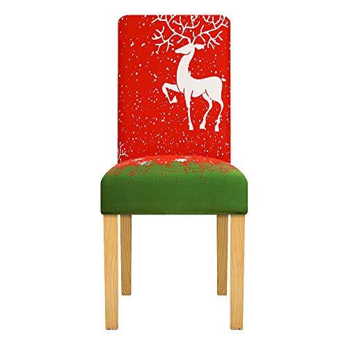 LZHLMCL Anti Sucio Fundas para Sillas Rojo Verde Spandex Elástico Impreso Extraíble Cubierta De La Silla De Comedor Banquete De Hotel Navidad En Casa Ceremonia De Boda 1 Uds