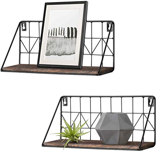 Mkono Floating Shelves Wall Mounted Set of 2 Rustic Wood Storage Display Shelf with Metal Wire Basket 11.5 Inches, Hanging Shelf for Bedroom Bathroom Living Room Kitchen Office, Brown,Small