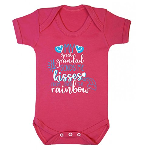 Flox Creative Baby Vest My Great Grandad Sends Kisses from Over The Rainbow - Rose - XXL