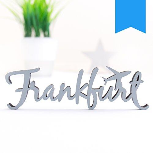 KLEINLAUT 3D-Schriftzug Frankfurt in Größe: 25 x 7,6 cm - Dekobuchstaben - 32 Farben zur Wahl - Neon Blau