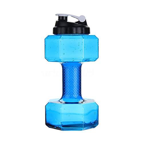 Hantel Kessel,Kurzhanteln Große Wasserflasche,Neue Sportflasche Leakproof Deckel/Flip Top Hantel Trinkflaschen - 2.6L Große Kapazität Sports Trinkwasser-Flaschen für Outdoor Gym (blau, 2.6L/14X31cm)