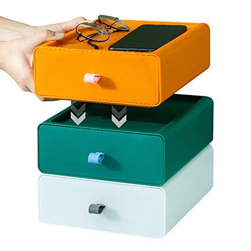 cufuller Caja de almacenamiento de escritorio apilable con 3 cajones, compacta y personalizable para oficina y hogar