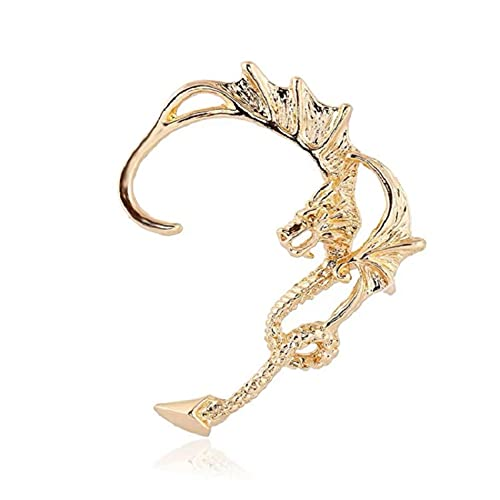 SALAN 1 Pieza Nuevo Clip De Oreja Exagerado Clip De Hueso De Oreja De Dragón Clip De Hueso De Oreja De Serpiente Personalidad De Moda Golden Dragon Amor Pendiente De Pareja