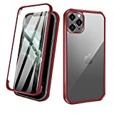 ZHIKE Compatible with iPhone 12 Pro Max Case,Full Body Apple Phone Case Cover Front and Back Tempered Glass Full Screen Coverage One-Piece Design Flip Cover [Support Wireless Charging](Red)