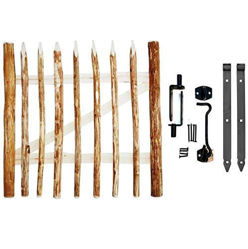 BOGATECO Zauntor Haselnuss | Breite: 100cm | Höhe 120 cm | Abstand zwischen den Zaunlatten 6-7 cm | Gartentor aus Holz für Staketenzaun | mit Scharniere inkl. Zubehör | Türöffnung nach Links