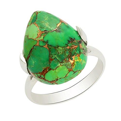 Shine Jewel Anillo de Piedras Preciosas de Color Turquesa Verde Hecho a Mano con Anillo de Plata de Ley 925 en Forma de Pera para Mujer R Turquesa Verde Blanco