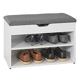 SoBuy® FSR25-HG Banc de Rangement à Chaussures 2 étages avec Coussin Rembourrée Commode à Chaussures Confortable L60m x…