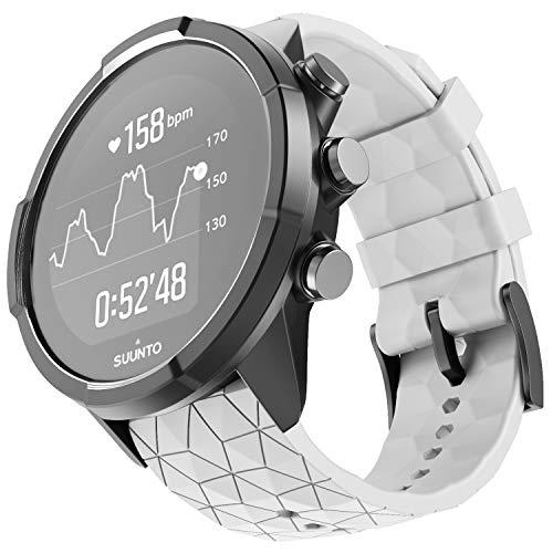 NotoCity Armband für Suunto 9 Spartan/Titanium/Smart Watch GPS/Suunto Spartan Sport Wrist HR, 24mm Premium Silikon QuickFit Armbänder für Suunto 9, Mehrfache Farben (Weiss)