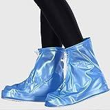 Anasu Waterproof Rain Shoes Non-Slip Shoes Covers Overshoes Galoshes Travel for Men Women Kids (Blue, XL)