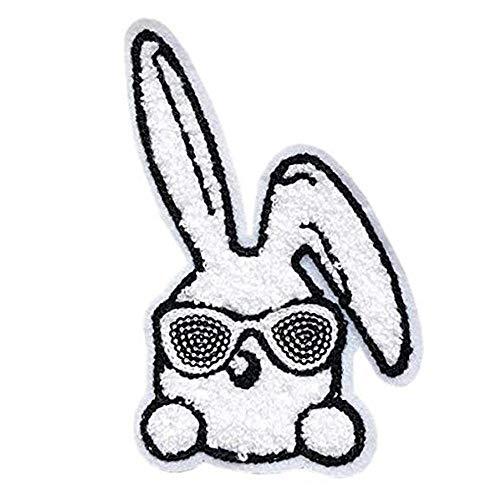 うさぎ ワッペン 刺繍 スパンコール 縦14cm×横9cm サングラス ウサギ 動物 アップリケ 手芸 かわいい WAPPEN