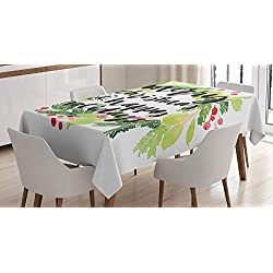 Ambesonne Christmas Tablecloth, New Year and Happy Holiday Rustic Design Wreath with Berries and Evergreen Image, Dining Room Kitchen Rectangular Table Cover, 60 X 84, Red Green