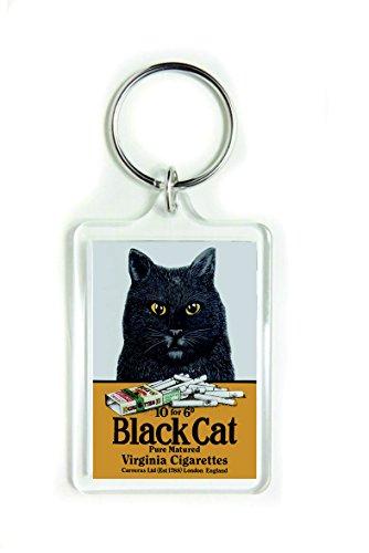 Porte-clés en acrylique Virginia London Angleterre avec chat noir maturé