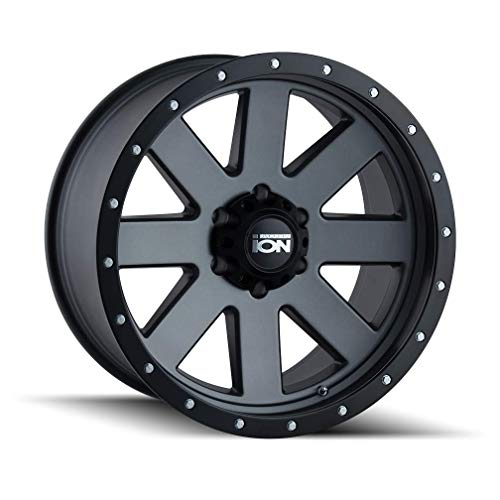 ION (134) GRAY Wheel with MATTE GUNMETAL WITH BLACK BEADLOCK (0 x 10. inches /8 x 180 mm, -19 mm offset) -  Ion Wheels, 134-8178MG