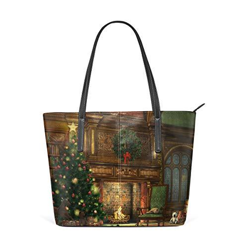 Dames Handtassen Winter Holiday Open Haard Kerstboom Tote PU Leer
