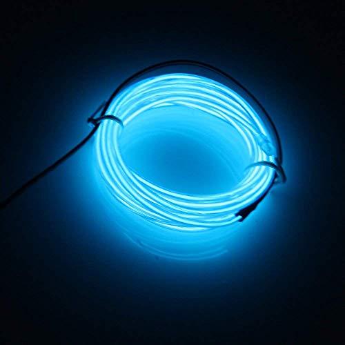 Lerway Luce Blu striscia di corda neon 5 metri LED flessibile EL Cavo Natale Capodanno Festa di nozze Compleanno Illuminazione per interni Decorazione per esterni DIY Multicolor Cosplay Pasqua