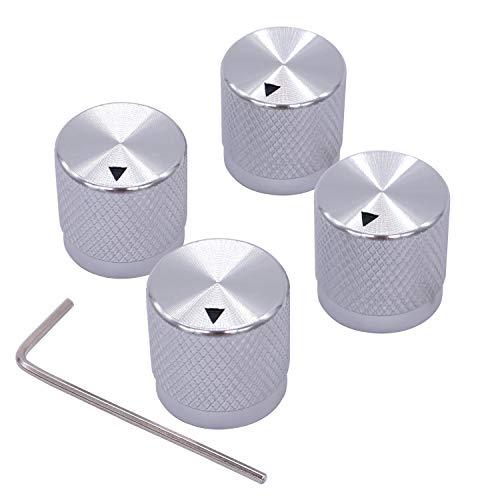 Taiss/4 stücke Silber farbe Aluminium Elektronische Drehregler Potentiometer Knopf Für 6mm Durchmesser Welle, Lautstärkeregler, Audio knopf, Gitarrenknopf, schaltknopf, 17mm durchmesser x 17mm Höhe